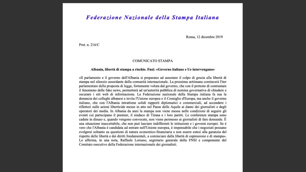 FAKSIMILE E DEKLARATËS së FNSI - Federazione Nazionale Della Stampa Italiana